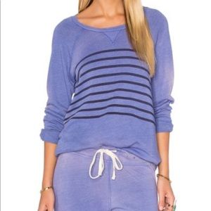 Sundry Distressed Stripe Front Pullover